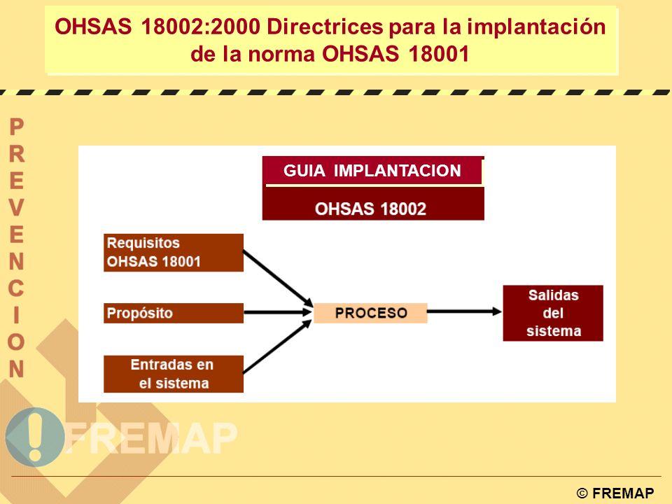 © FREMAP OHSAS 18001:1999 Sistemas de gestión de prevención de riesgos laborales POLÍTICA PLANIFICACIÓN IMPLANTACIÓN Y OPERACIÓN VERIFICACIÓN Y ACCIÓN CORRECTORA REVISIÓN POR LA DIRECCIÓN SISTEMA DE GESTIÓN DE LA SEGURIDAD Y SALUD LABORAL
