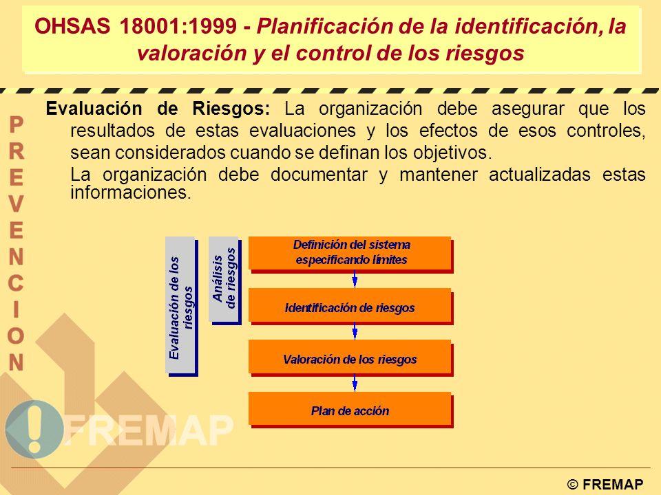 © FREMAP OHSAS 18001:1999 – Planificación de la identificación, la valoración y el control de los riesgos 4.3.1.