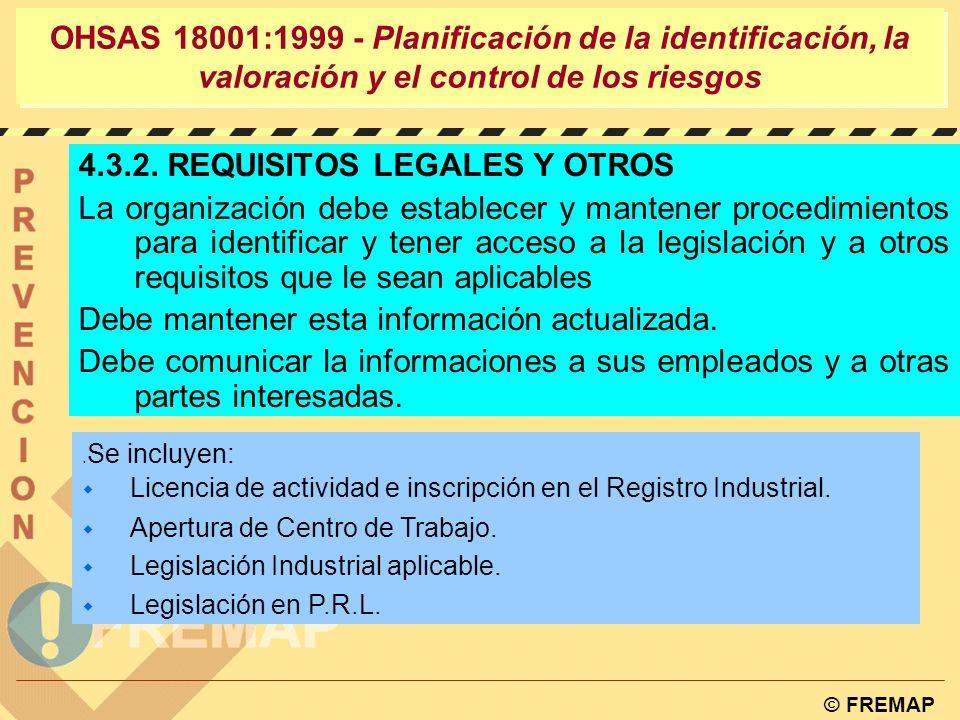 © FREMAP PELIGROS ELIMINABLES SOMETIDOS A REGLAMENTOS EVALUABLES PLAN DE DEELIMINACIÓN PLANDEADECUACIÓN PLAN DE ACCIÓN PARA SU CONTROL PLANDEVERIFICACIÓN PLAN DE CONTROL OHSAS 18001:1999 - Planificación de la identificación, la valoración y el control de los riesgos CONTROL DE LOS RIESGOS