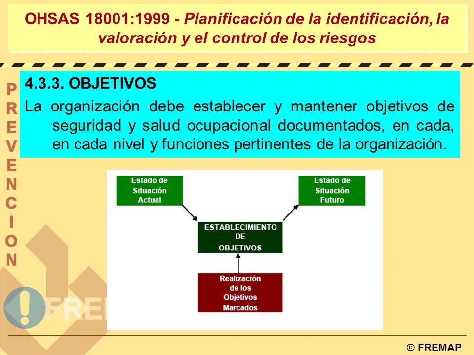 © FREMAP OHSAS 18001:1999 - Planificación de la identificación, la valoración y el control de los riesgos 4.3.2. REQUISITOS LEGALES Y OTROS La organiz