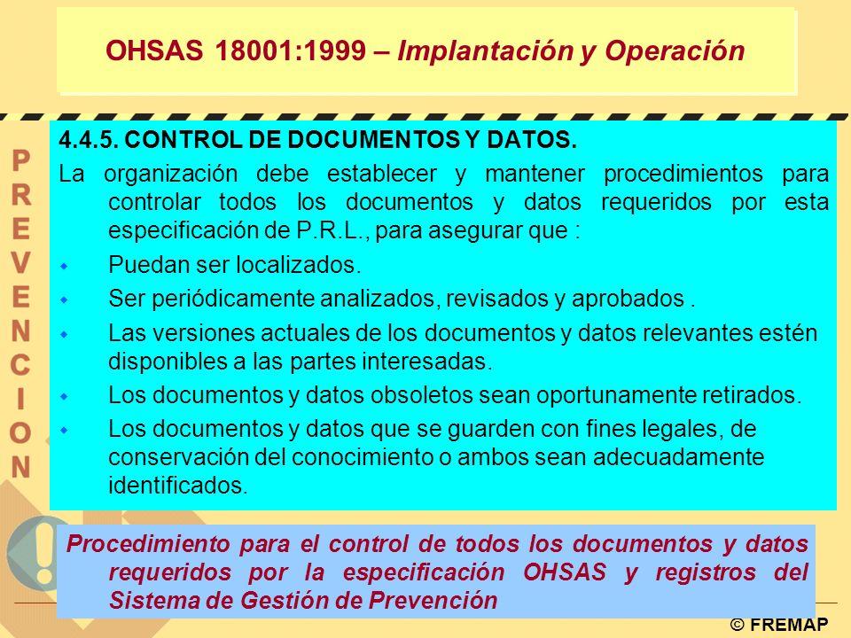 © FREMAP OHSAS 18001:1999 – Implantación y Operación DEFINE: principios y responsabilidades DEFINE; ¿qué.