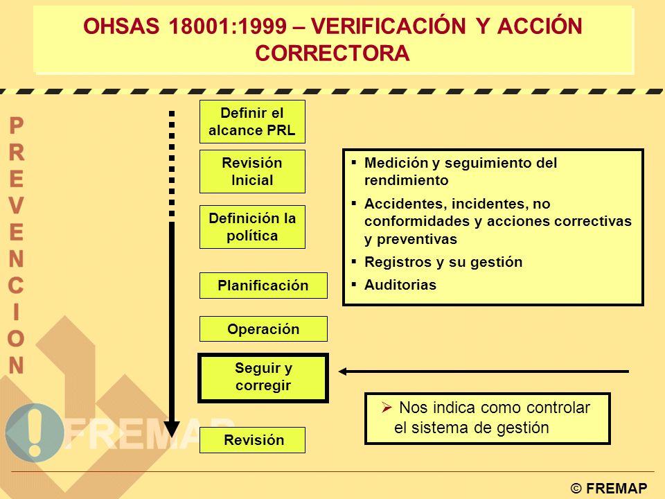 © FREMAP OHSAS 18001:1999 – Implantación y Operación 4.4.7. PREPARACIÓN Y RESPUESTA ANTE EMERGENCIAS. La organización debe establecer y mantener plane