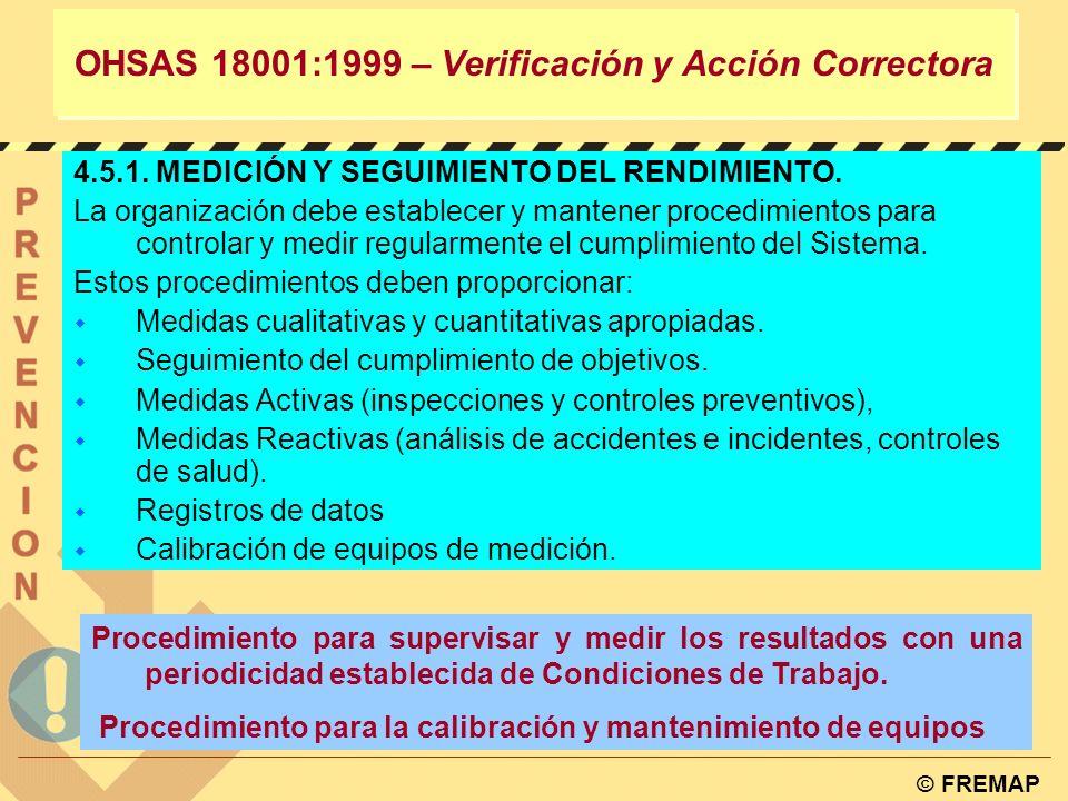 © FREMAP Definir el alcance PRL Revisión Inicial Definición la política Planificación Operación Seguir y corregir Revisión OHSAS 18001:1999 – VERIFICA