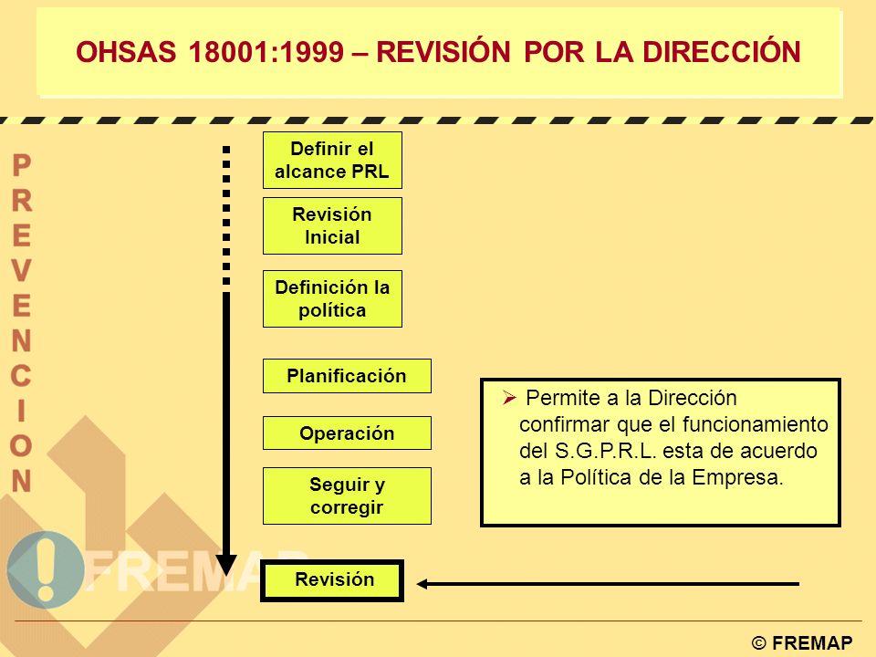 © FREMAP OHSAS 18001:1999 – Verificación y Acción Correctora 4.5.4. AUDITORIAS La organización debe establecer y mantener un programa de auditorias y