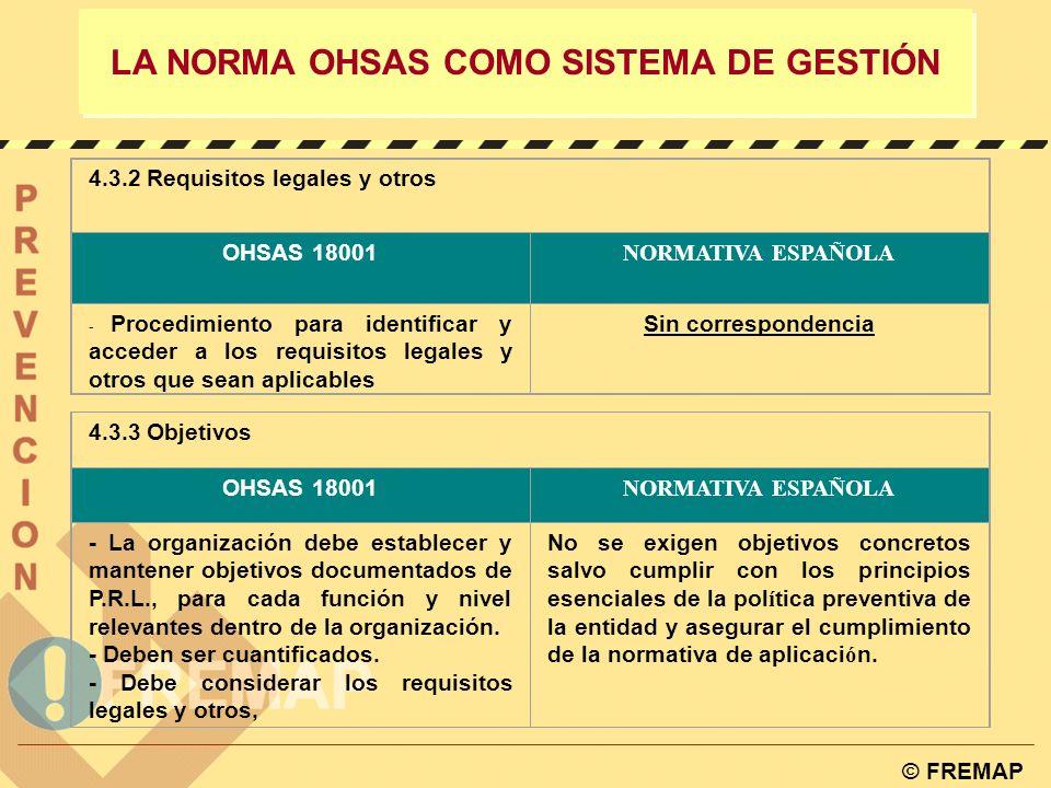 © FREMAP LA NORMA OHSAS COMO SISTEMA DE GESTIÓN 4.2. Política OHSAS 18001 NORMATIVA ESPAÑOLA - Mejora continua - Cumplimiento legislativo - Estar divu