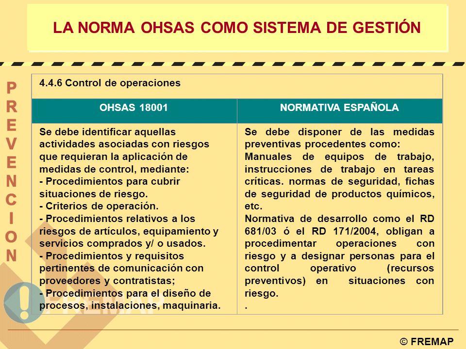 © FREMAP LA NORMA OHSAS COMO SISTEMA DE GESTIÓN 4.4.4 Documentación OHSAS 18001NORMATIVA ESPAÑOLA La organización debe establecer y mantener informaci