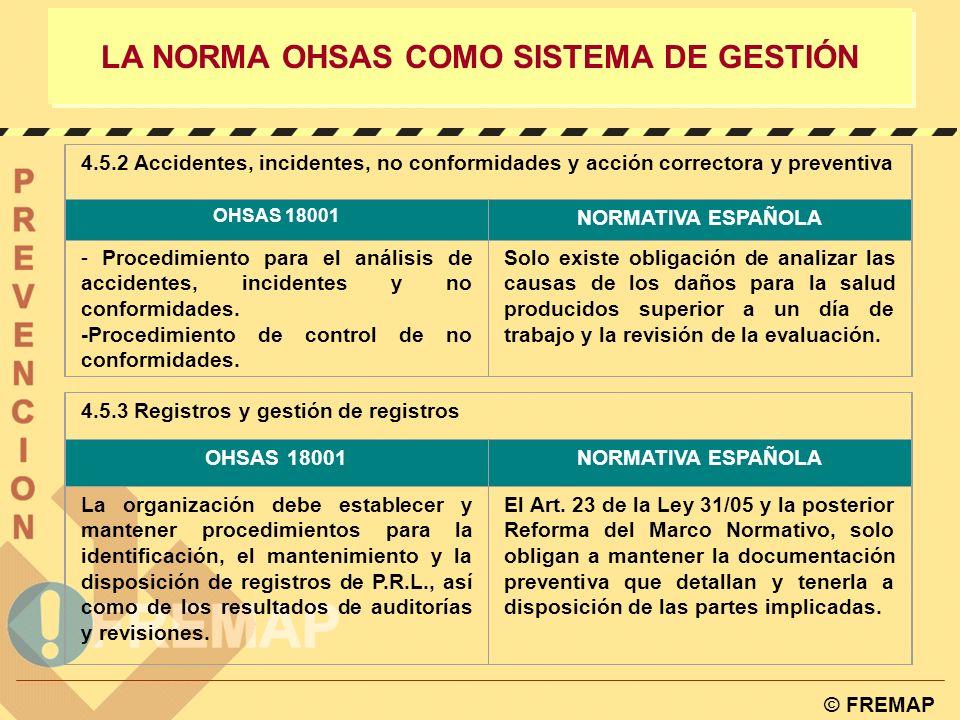 © FREMAP LA NORMA OHSAS COMO SISTEMA DE GESTIÓN 4.5.1 Medición y supervisión del rendimiento OHSAS 18001NORMATIVA ESPAÑOLA - Procedimiento para contro