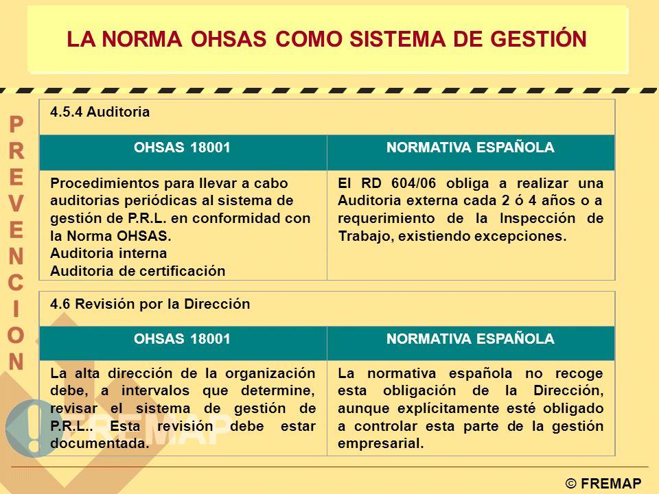 © FREMAP LA NORMA OHSAS COMO SISTEMA DE GESTIÓN 4.5.2 Accidentes, incidentes, no conformidades y acción correctora y preventiva OHSAS 18001 NORMATIVA