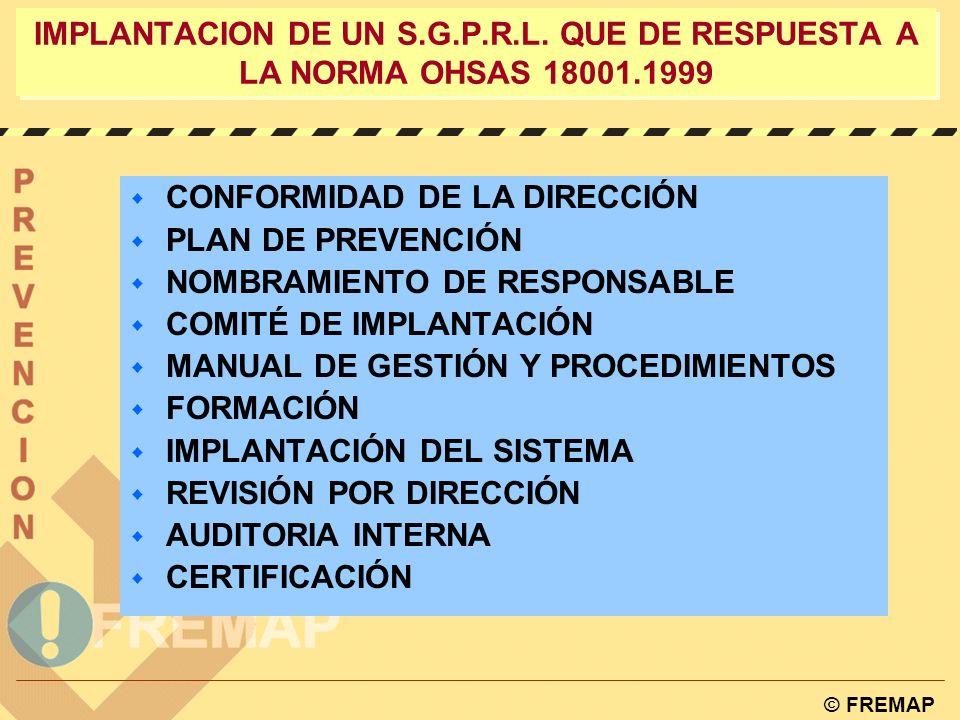 © FREMAP LA NORMA OHSAS COMO SISTEMA DE GESTIÓN 4.5.4 Auditoria OHSAS 18001NORMATIVA ESPAÑOLA Procedimientos para llevar a cabo auditorias periódicas al sistema de gestión de P.R.L.