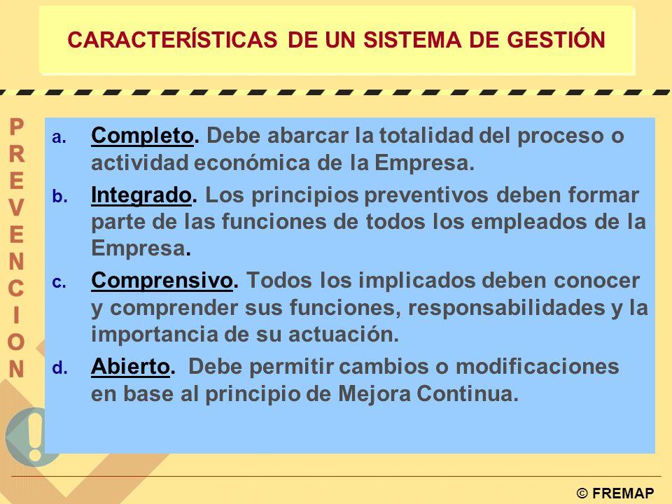 © FREMAP ESTRUCTURA DE UN SISTEMA DE GESTIÓN 1. Política, Objetivos y Metas. 2. Organización. Distribución de Responsabilidades y Funciones. 3. Sistem