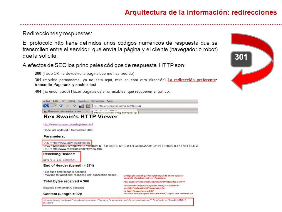 Redirecciones y respuestas: El protocolo http tiene definidos unos códigos numéricos de respuesta que se transmiten entre el servidor que envía la página y el cliente (navegador o robot) que la solicita.