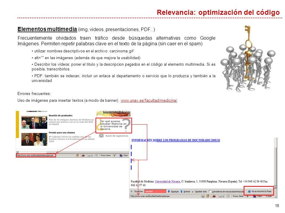 18 Relevancia: optimización del código Elementos multimedia (img, videos, presentaciones, PDF...) Frecuentemente olvidados traen tráfico desde búsquedas alternativas como Google Imágenes.