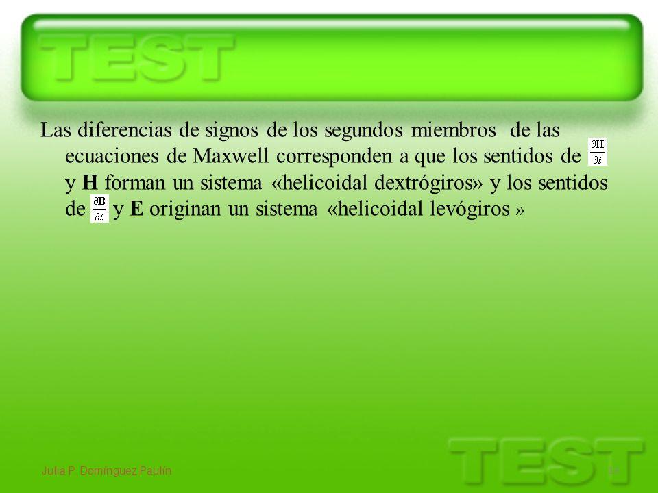 Las diferencias de signos de los segundos miembros de las ecuaciones de Maxwell corresponden a que los sentidos de y H forman un sistema «helicoidal d