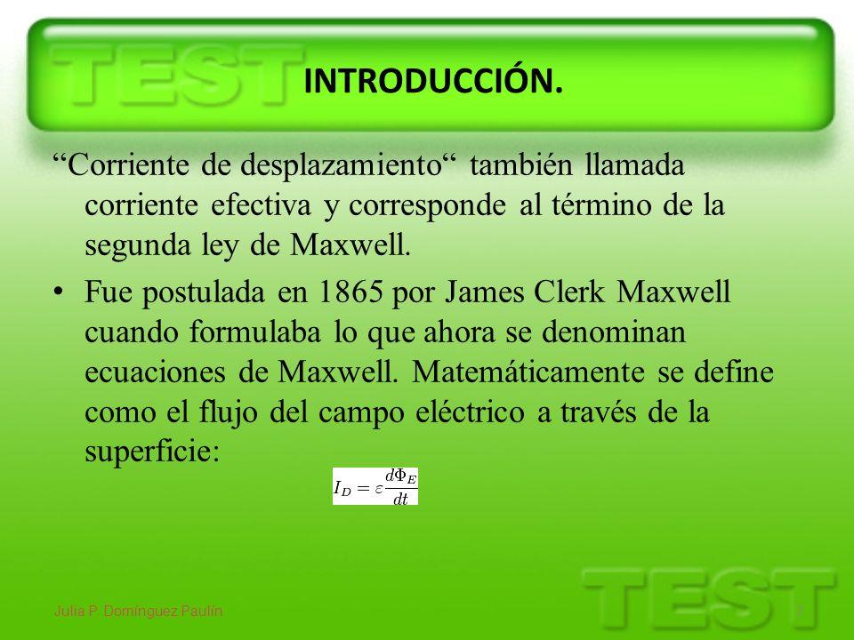INTRODUCCIÓN. Corriente de desplazamiento también llamada corriente efectiva y corresponde al término de la segunda ley de Maxwell. Fue postulada en 1