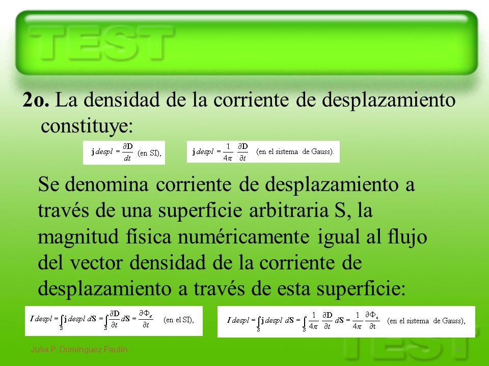 Julia P. Domínguez Paulín 4 2o. La densidad de la corriente de desplazamiento constituye: Se denomina corriente de desplazamiento a través de una supe
