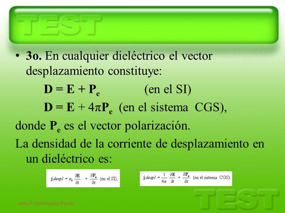 3 o. En cualquier dieléctrico el vector desplazamiento constituye: D = E + P e (en el SI) D = E + 4πP e (en el sistema CGS), donde P e es el vector po
