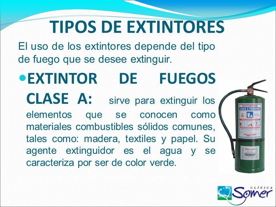 EXTINTORES Un extintor es un artefacto que sirve para apagar fuego. Consiste en un recipiente metálico (bombona o cilindro de acero) que contiene un a