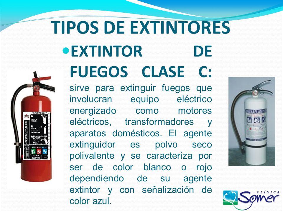 TIPOS DE EXTINTORES EXTINTOR DE FUEGOS CLASE B: sirve para extinguir líquidos inflamables y/o combustibles derivados del petróleo. El agente extinguid