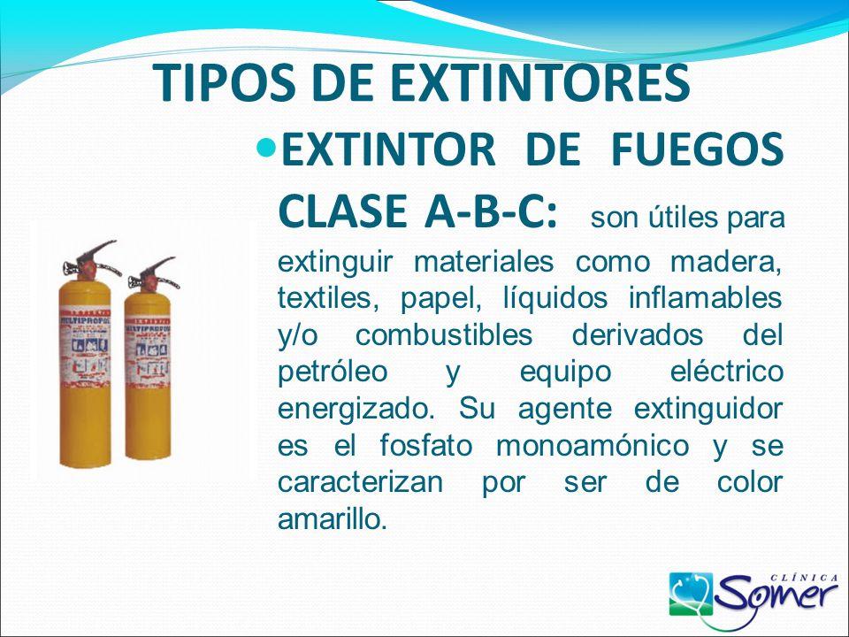 TIPOS DE EXTINTORES EXTINTOR DE FUEGOS CLASE C: sirve para extinguir fuegos que involucran equipo eléctrico energizado como motores eléctricos, transf