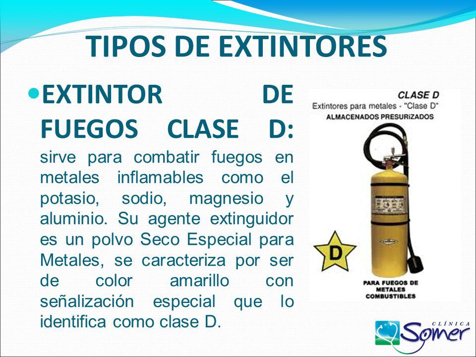 TIPOS DE EXTINTORES EXTINTOR DE FUEGOS CLASE A-B-C: son útiles para extinguir materiales como madera, textiles, papel, líquidos inflamables y/o combus