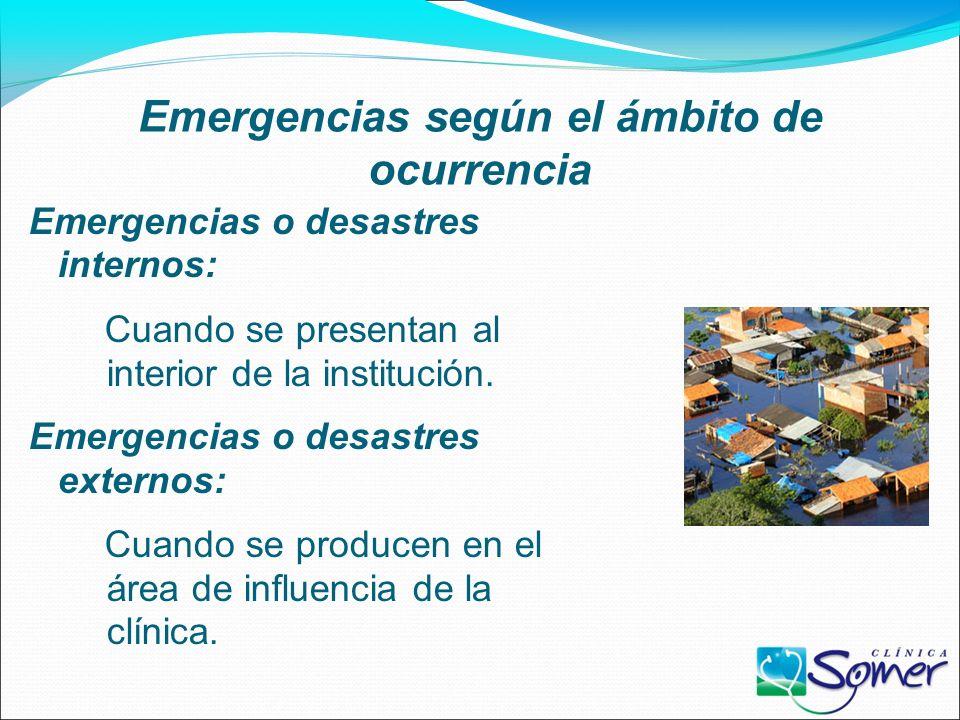 Emergencias según el ámbito de ocurrencia Emergencias o desastres internos: Cuando se presentan al interior de la institución.