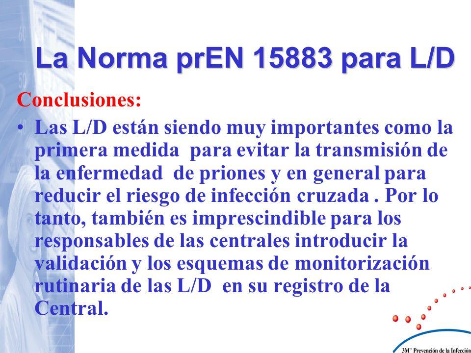 Conclusiones: Las L/D están siendo muy importantes como la primera medida para evitar la transmisión de la enfermedad de priones y en general para red