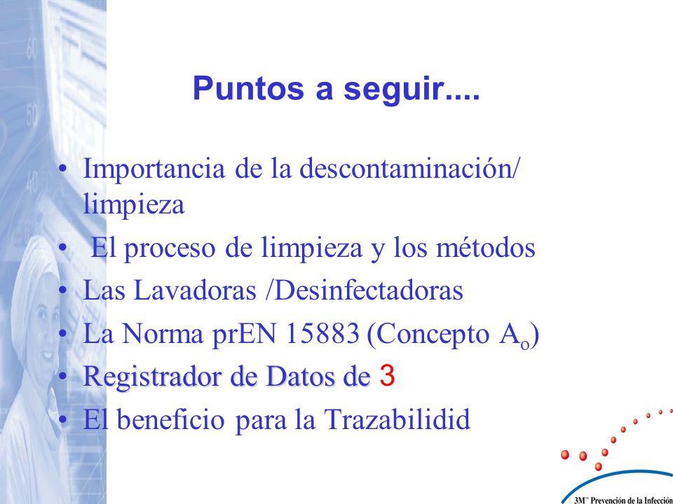 Puntos a seguir.... Importancia de la descontaminación/ limpieza El proceso de limpieza y los métodos Las Lavadoras /Desinfectadoras La Norma prEN 158