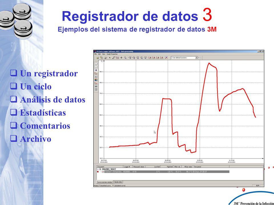 Registrador de datos 3 Ejemplos del sistema de registrador de datos 3M Un registrador Un ciclo Análisis de datos Estadísticas Comentarios Archivo