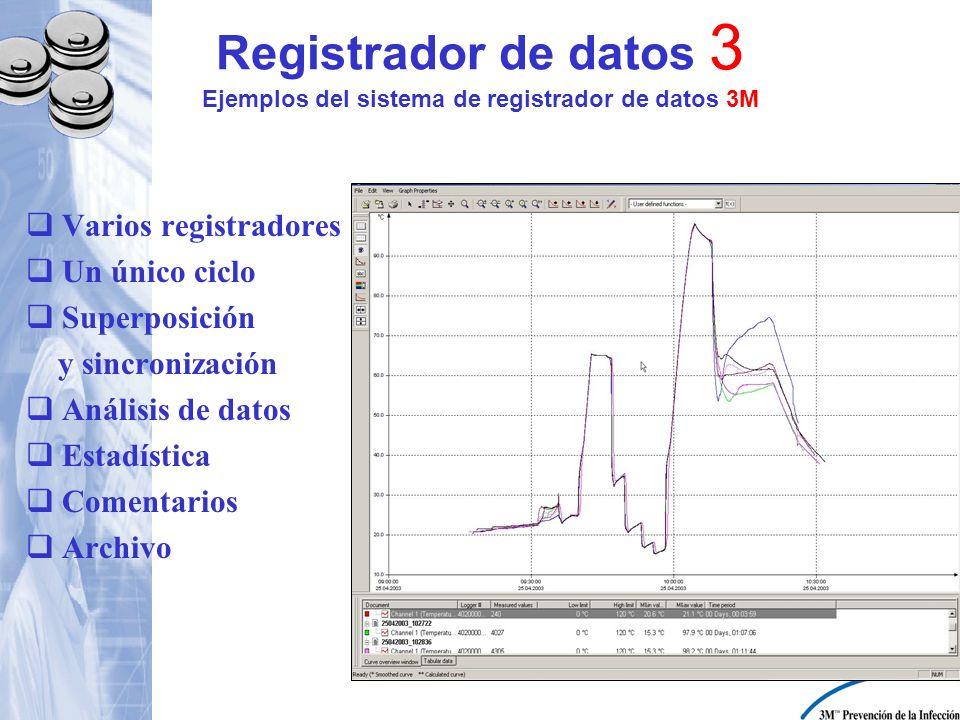 Registrador de datos 3 Ejemplos del sistema de registrador de datos 3M Varios registradores Un único ciclo Superposición y sincronización Análisis de