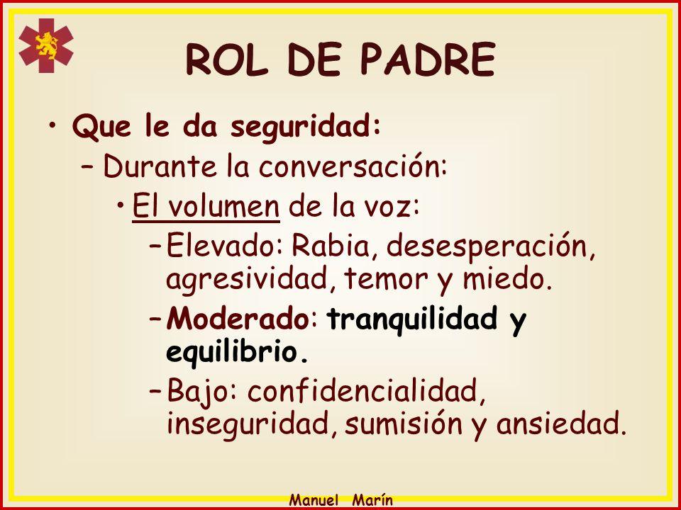 Manuel Marín Que le da seguridad: –Durante la conversación: El volumen de la voz: –Elevado: Rabia, desesperación, agresividad, temor y miedo. –Moderad
