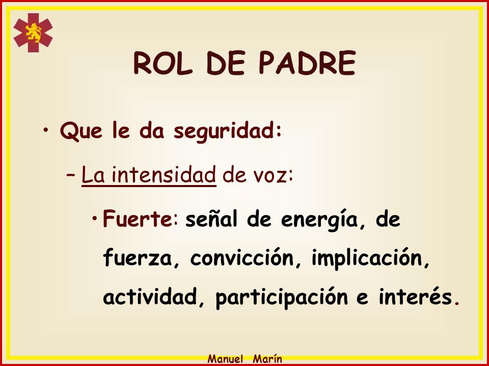 Manuel Marín ROL DE PADRE Que le da seguridad: –La intensidad de voz: Fuerte: señal de energía, de fuerza, convicción, implicación, actividad, partici