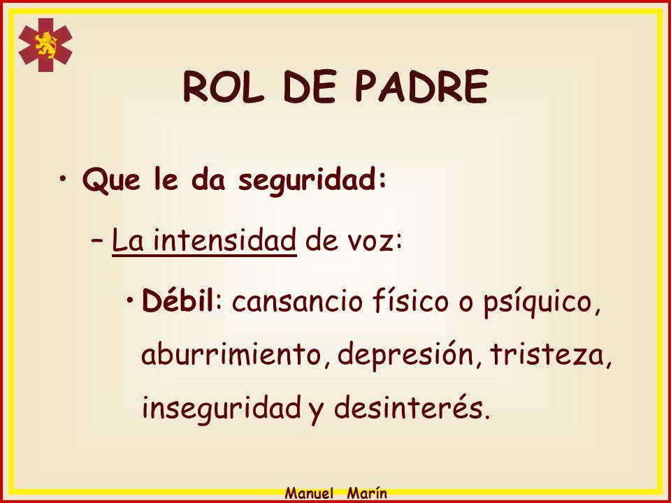 Manuel Marín ROL DE PADRE Que le da seguridad: –La intensidad de voz: Débil: cansancio físico o psíquico, aburrimiento, depresión, tristeza, insegurid