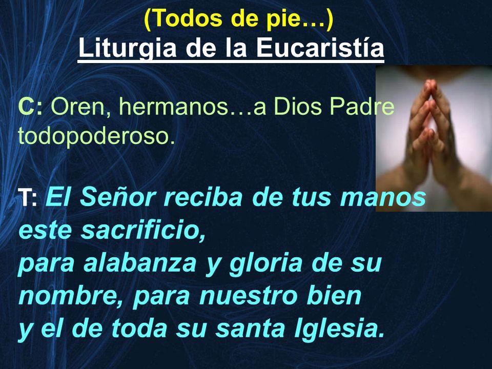 (Todos de pie…) Liturgia de la Eucaristía C: Oren, hermanos…a Dios Padre todopoderoso. T: El Señor reciba de tus manos este sacrificio, para alabanza