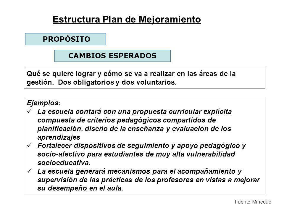 Fuente: Mineduc PROPÓSITO CAMBIOS ESPERADOS Qué se quiere lograr y cómo se va a realizar en las áreas de la gestión. Dos obligatorios y dos voluntario