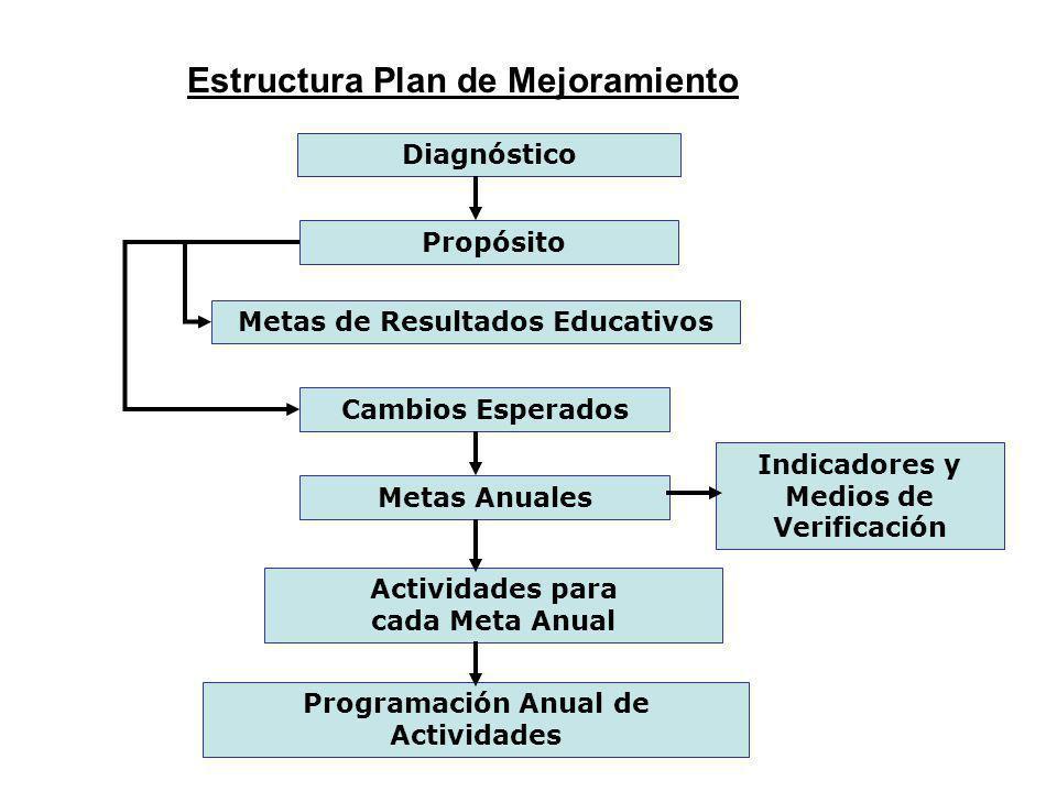 Estructura Plan de Mejoramiento Propósito Metas de Resultados Educativos Cambios Esperados Indicadores y Medios de Verificación Metas Anuales Activida