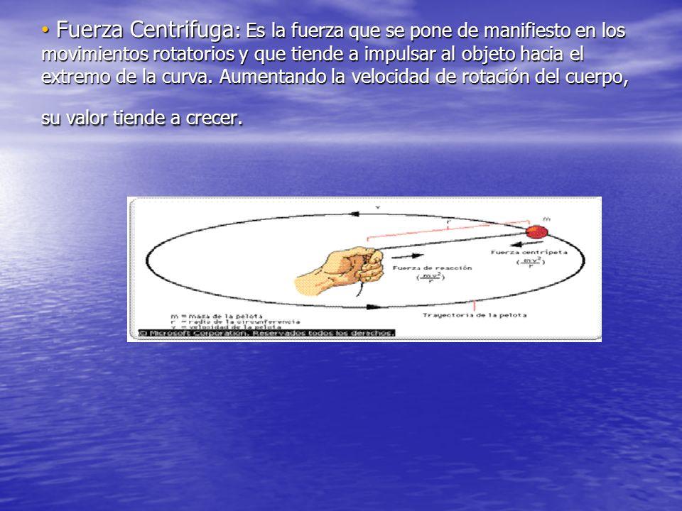 Fuerza Centrifuga : Es la fuerza que se pone de manifiesto en los movimientos rotatorios y que tiende a impulsar al objeto hacia el extremo de la curva.