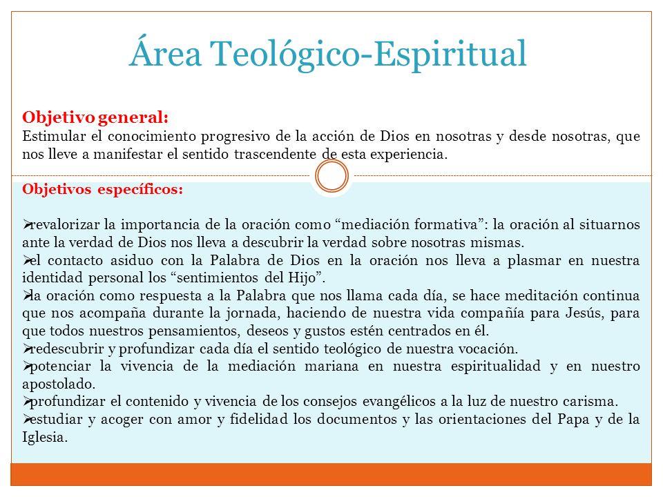 Área Teológico-Espiritual Objetivo general: Estimular el conocimiento progresivo de la acción de Dios en nosotras y desde nosotras, que nos lleve a ma