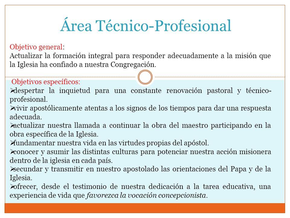 Área Técnico-Profesional Objetivo general: Actualizar la formación integral para responder adecuadamente a la misión que la Iglesia ha confiado a nues