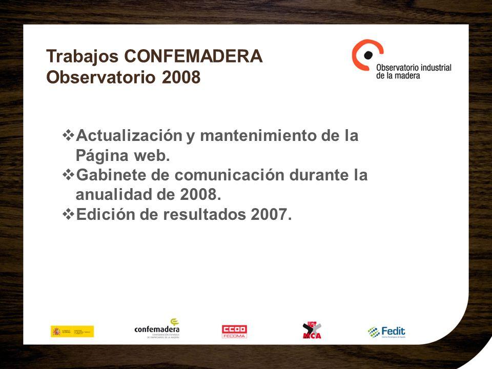 Trabajos CONFEMADERA Observatorio 2008 Actualización y mantenimiento de la Página web. Gabinete de comunicación durante la anualidad de 2008. Edición