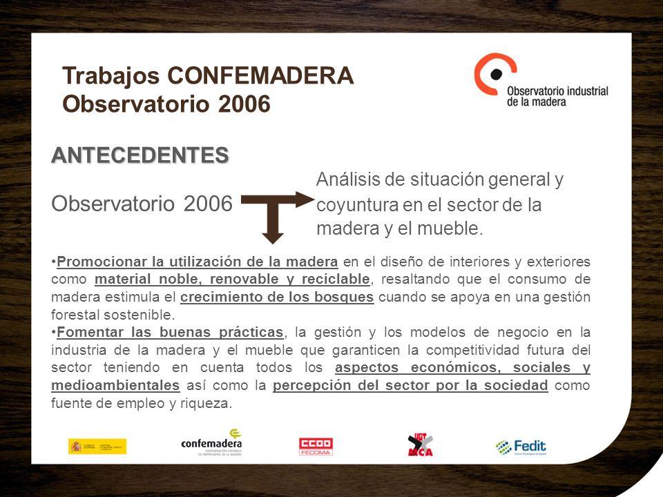 Trabajos CONFEMADERA Observatorio 2006 ANTECEDENTES Análisis de situación general y Observatorio 2006 coyuntura en el sector de la madera y el mueble.