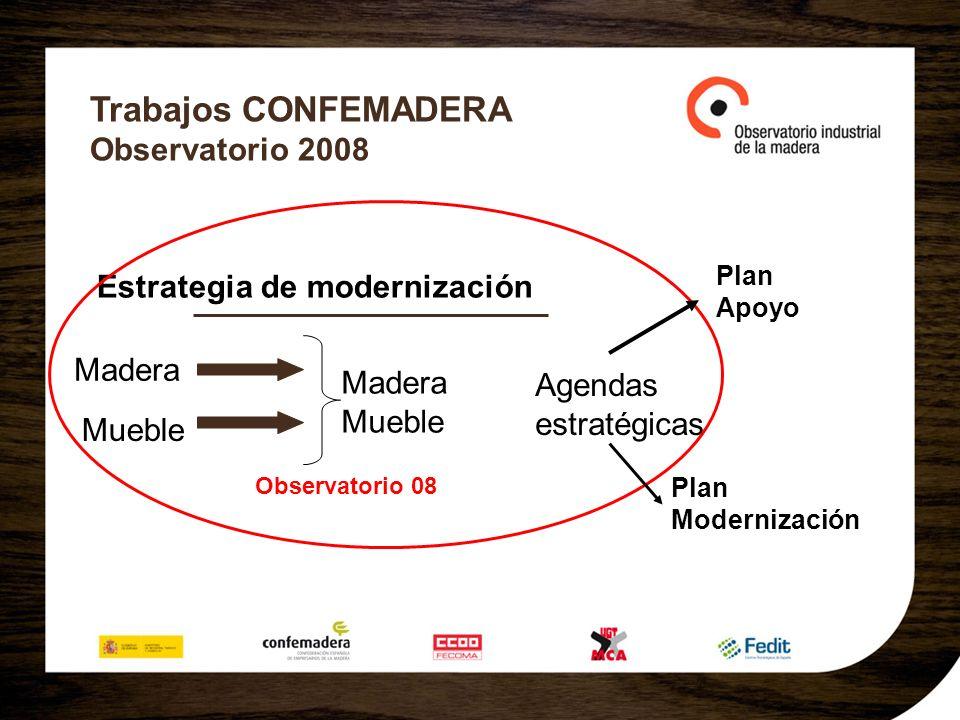 Trabajos CONFEMADERA Observatorio 2008 Estrategia de modernización Madera Mueble Agendas estratégicas Observatorio 08 Plan Modernización Madera Mueble