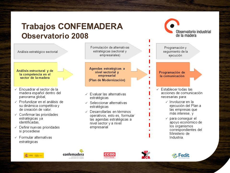 Trabajos CONFEMADERA Observatorio 2008 Análisis estratégico sectorial Análisis estructural y de la competencia en el sector de la madera Formulación d