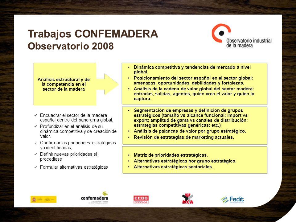 Trabajos CONFEMADERA Observatorio 2008 Dinámica competitiva y tendencias de mercado a nivel global. Posicionamiento del sector español en el sector gl