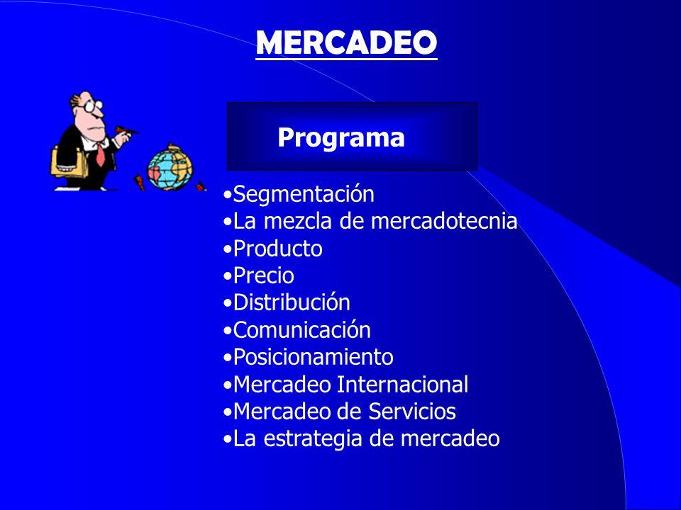 Programa Segmentación La mezcla de mercadotecnia Producto Precio Distribución Comunicación Posicionamiento Mercadeo Internacional Mercadeo de Servicio