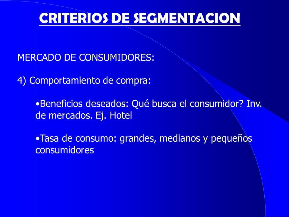 CRITERIOS DE SEGMENTACION MERCADO DE CONSUMIDORES: 4) Comportamiento de compra: Beneficios deseados: Qué busca el consumidor? Inv. de mercados. Ej. Ho