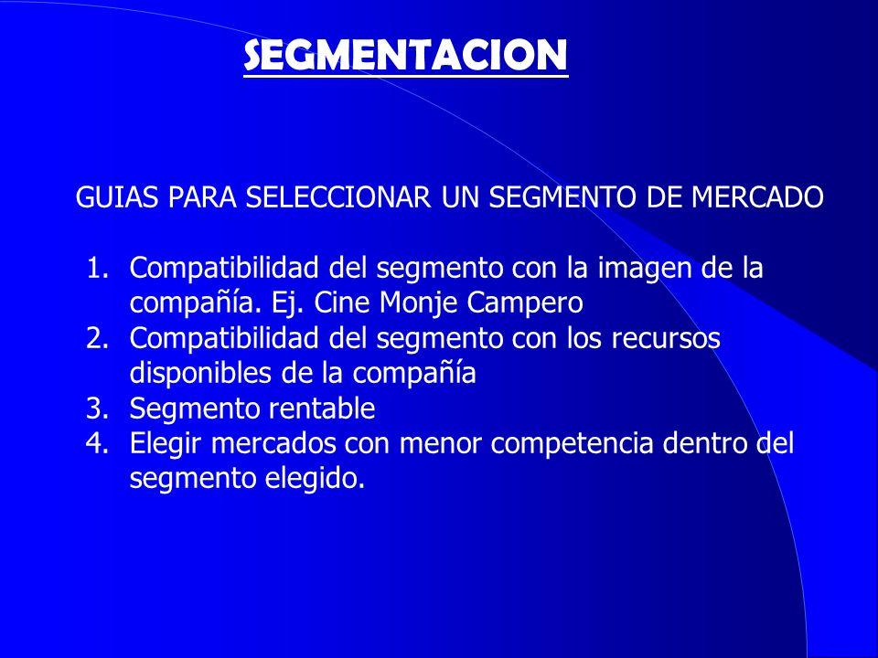 GUIAS PARA SELECCIONAR UN SEGMENTO DE MERCADO 1.Compatibilidad del segmento con la imagen de la compañía. Ej. Cine Monje Campero 2.Compatibilidad del