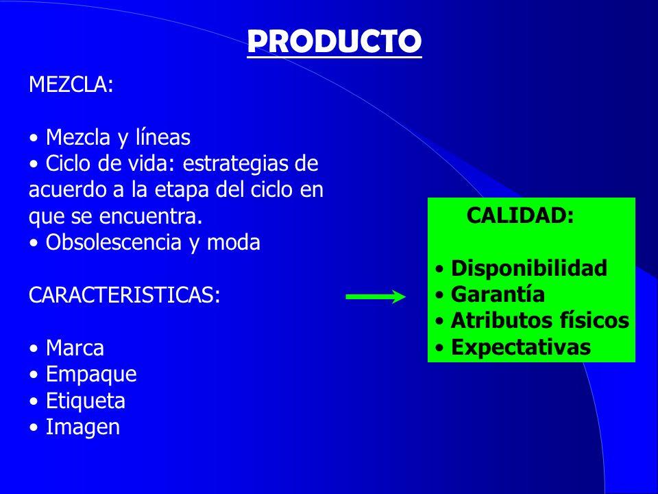 MEZCLA: Mezcla y líneas Ciclo de vida: estrategias de acuerdo a la etapa del ciclo en que se encuentra. Obsolescencia y moda CARACTERISTICAS: Marca Em