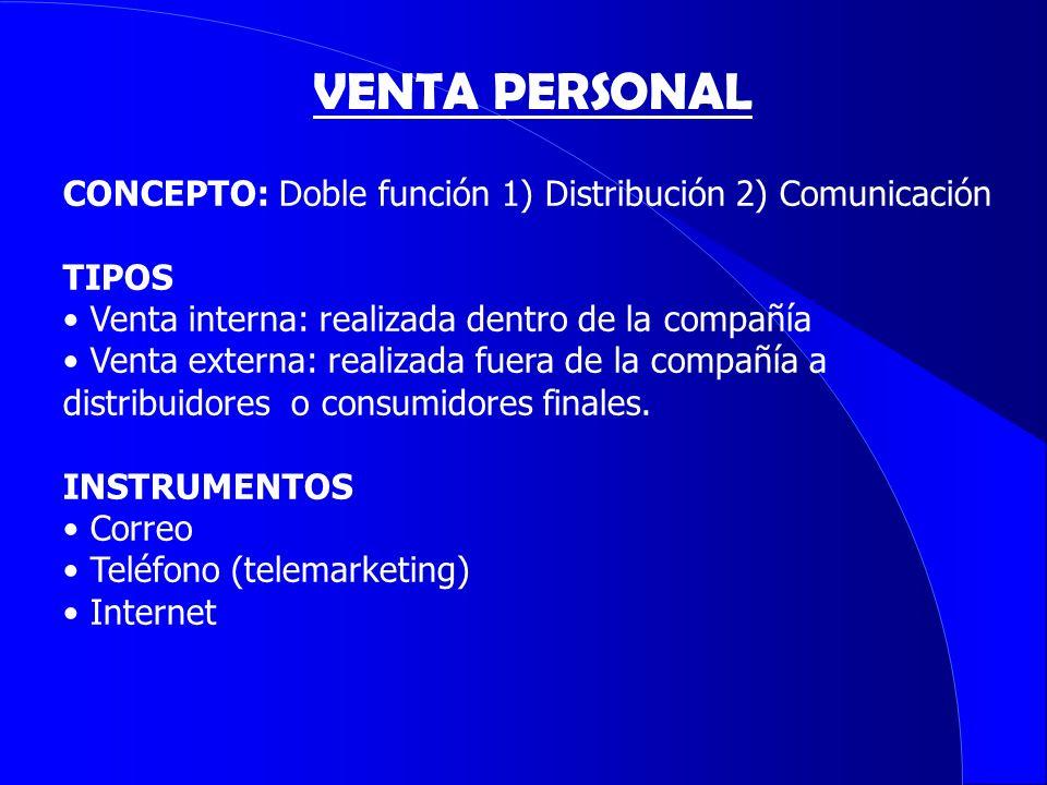CONCEPTO: Doble función 1) Distribución 2) Comunicación TIPOS Venta interna: realizada dentro de la compañía Venta externa: realizada fuera de la comp