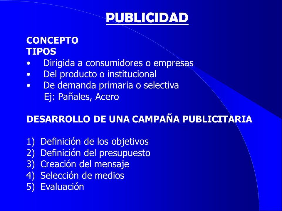 CONCEPTO TIPOS Dirigida a consumidores o empresas Del producto o institucional De demanda primaria o selectiva Ej: Pañales, Acero DESARROLLO DE UNA CA