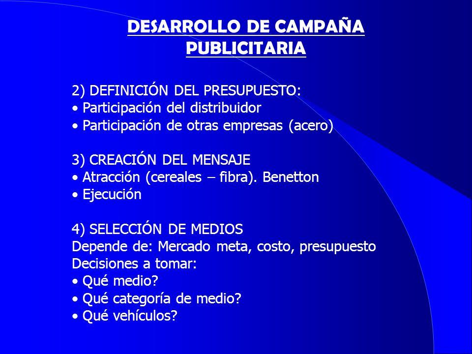 2) DEFINICIÓN DEL PRESUPUESTO: Participación del distribuidor Participación de otras empresas (acero) 3) CREACIÓN DEL MENSAJE Atracción (cereales – fi